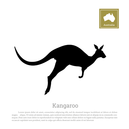 Black silhouette of jumping kangaroo on a white background. Isolated drawing of a wallaby