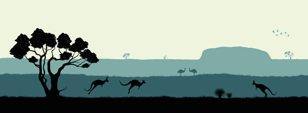 Australian landscape. Black silhouette of trees, kangaroo and ostrichs on white background. The nature of Australia