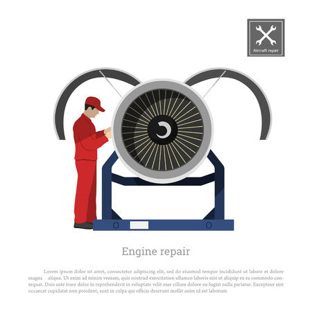 Repair and maintenance of aircraft. Engineer inspects the engine of the airplane. Industrial drawing in a flat style
