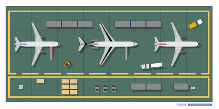 Repair and maintenance of aircraft. Top view of workshop. Industrial drawing in a flat style