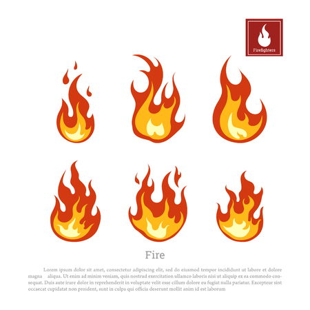 Fire on a white background. Collection of flames in a flat style. Firefighters icon. Illustration