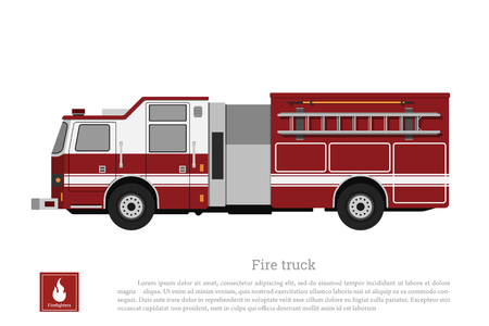 Red fire truck in a flat style on a white background. Car of fire department Ilustrace