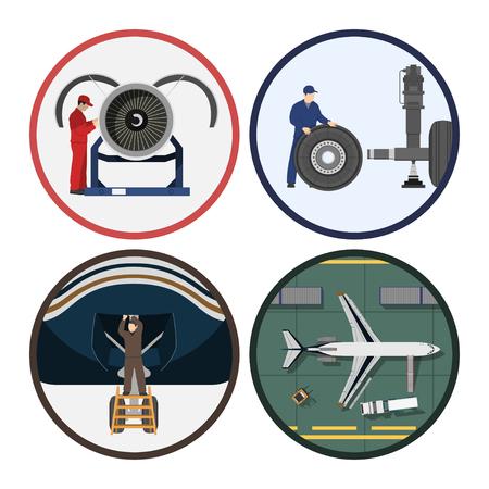 修理と航空機のメンテナンス。飛行機のサービス。フラット スタイルで描画産業