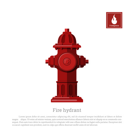 safe water: Fire hydrant on white background. Firefighter equipment in realistic style
