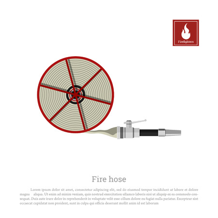 Fire hose on a white background. Firefighter equipment in realistic style