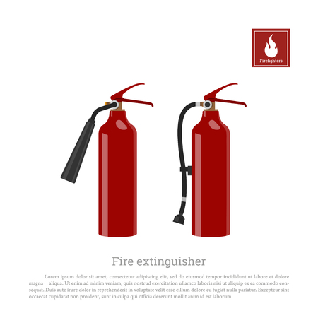 Fire extinguisher on a white background. Firefighter equipment in realistic style