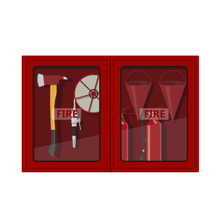 hazard: Fire hose cabinet on white background. Box with firefighters equipment: axe, extinguisher, hose and bucket