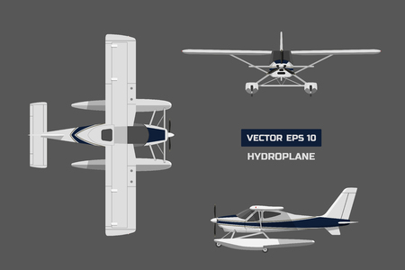 Plane in a flat style on a gray background. Cargo aircraft. Industrial drawing of hydroplane. Top, front and side view Illustration