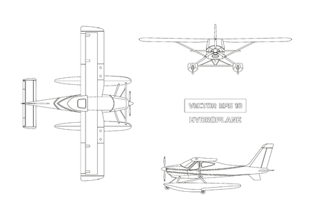 Outline drawing of plane in a flat style on a gray background. Cargo aircraft. Top, front and side view Illustration