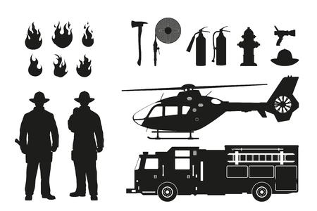 Silueta negra de bomberos y equipo de extinción de incendios en el fondo blanco. Coche de helicóptero y fireman.
