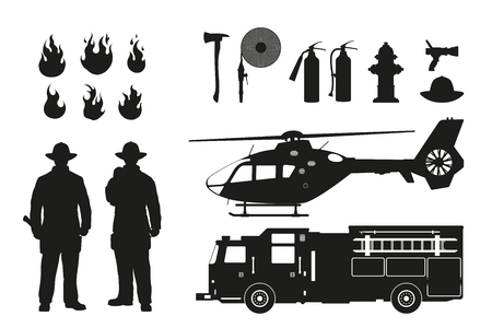 Black silhouette of firefighters and fire fighting equipment on white background. Helicopter and firemans car.
