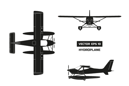 Black silhouette of plane on white background. Cargo aircraft. Industrial drawing of hydroplane. Top, front and side view Illustration