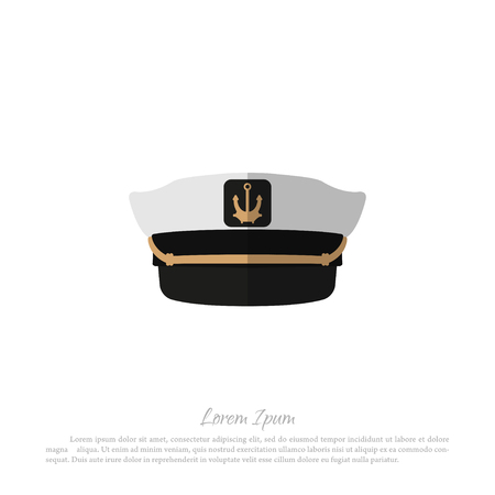 wearing: Hat of captain on a white background. Icon of sailor cap in flat style