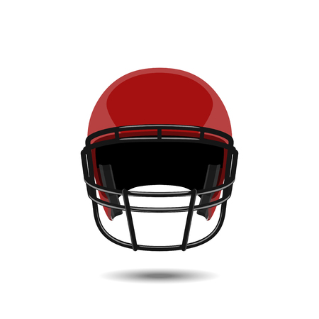gridiron: Red american football helmet on white background. Sports protection in a realistic style