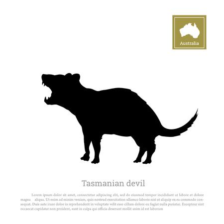 Black silhouette of  tasmanian devil on white background. Animals of Australia