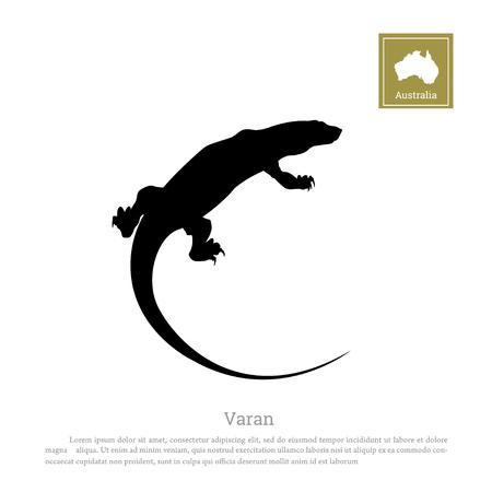 Black silhouette of varan on white background. Animals of Australia