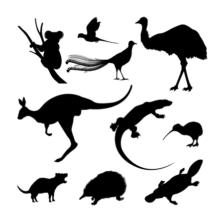 Set of black silhouettes of Australian animals. Kangaroo, koala and emu on a white background