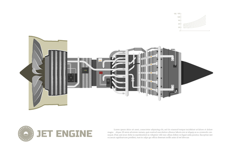 aeroengine: Jet engine of aircraft. Part of the airplane. Side view. Aerospase industrial drawing. Vector illustration