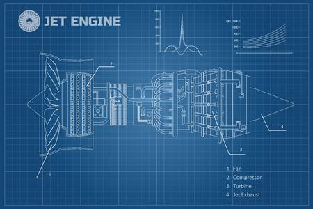 Straalmotor in een overzichtsstijl. Industriële vectorblauwdruk. Een deel van het vliegtuig. Zijaanzicht. Vector illustratie