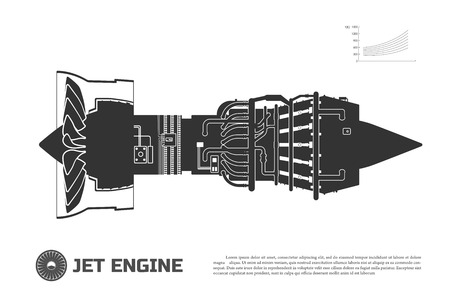 aeroengine: Silhouette of jet engine of aircraft. Part of the airplane. Side view. Aerospase industrial drawing Stock Photo