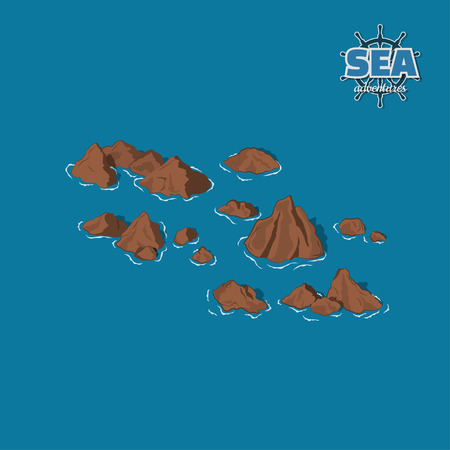 Brown reefs on a blue background. Underwater rocks in isometric style. 3d illustration. Pirate game