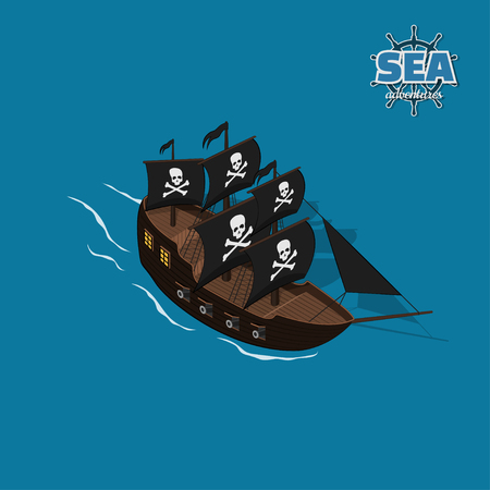 Pirate sailer on a blue background. Sailboat in isometric style. 3d illustration of ancient ship. Corsair game Illustration