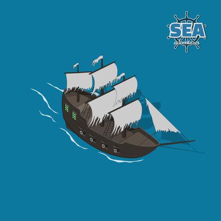 Sailer ghost sur fond bleu. Voilier en style isométrique. Illustration 3d d'un ancien navire. Pirate jeu Vecteurs