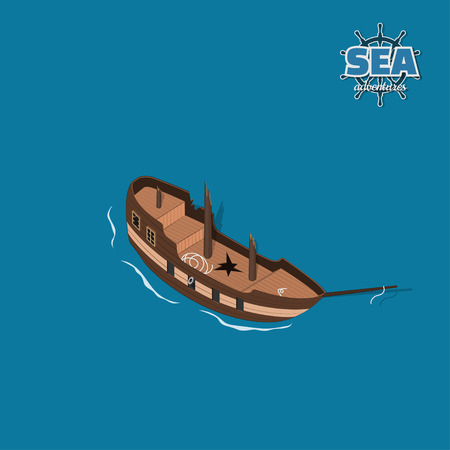 Broken sailer on a blue background. Sailboat in isometric style. 3d illustration of ancient ship. Pirate game Illustration