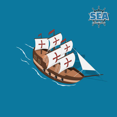 Brown sailer on a blue background. Sailboat in isometric style. 3d illustration of ancient ship. Pirate game