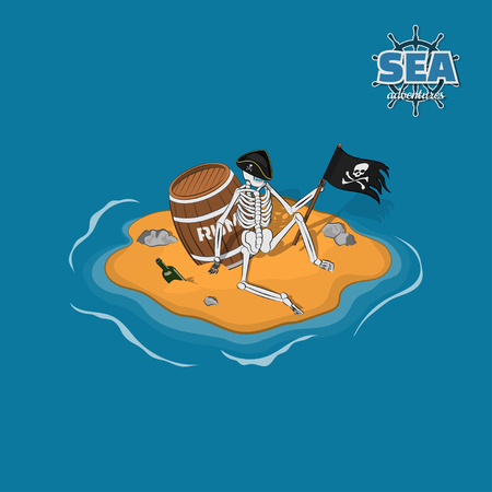 Skeleton of pirate in hat on a deserted island. Dead man with a barrel of rum in isometric style. Mobile game Illustration