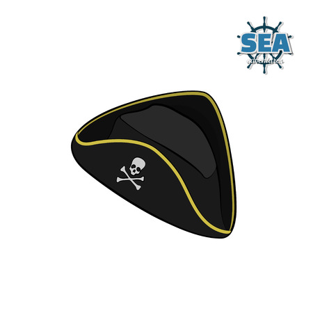 Icon of pirate hat in isometric style on white background. Isolated image in cartoon style