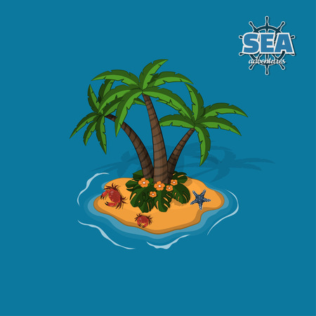 Tropical island with palm trees, crabs and sea star. Tropic in isometric style. Mobile game