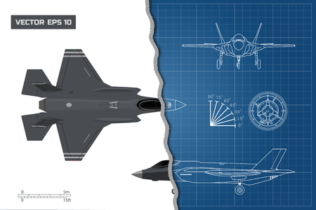 Drawing of military aircraft. Industrial blueprint. Top, side, front views. Fighter jet. War plane with external weapons Illustration