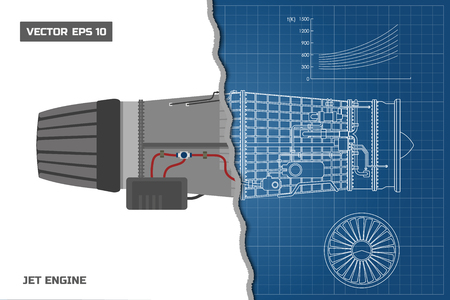 Jet engine in a outline style. Industrial vector blueprint. Part of the aircraft. Side view