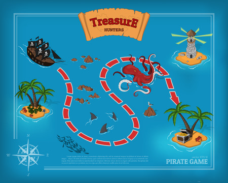 Pirate game in cartoon style. Seascape with a path image.