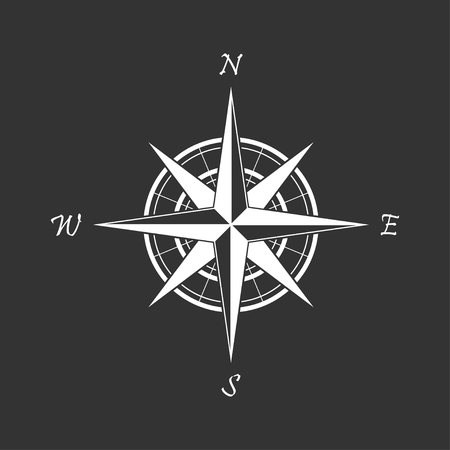 White compass icon on a black background. Marine navigation. Sign for adventure map