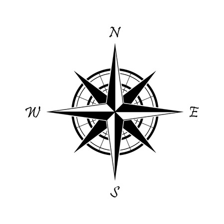 Black compass icon on a white background