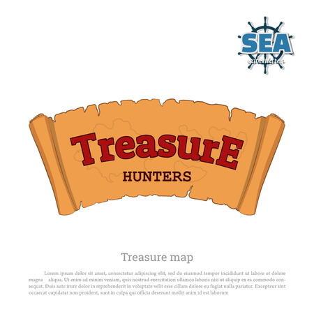 hunters: Pirate map on white background. Treasure hunters. Old scroll in cartoon style Illustration