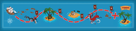 Pirate game in cartoon style. Seascape with a path image. Mobile interface with island and monsters: sea serpent, kraken