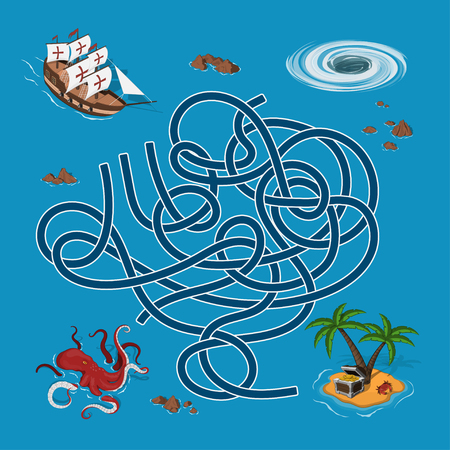 Kids maze. Labyrinth treasure hunters. Help the ship find the way to the island