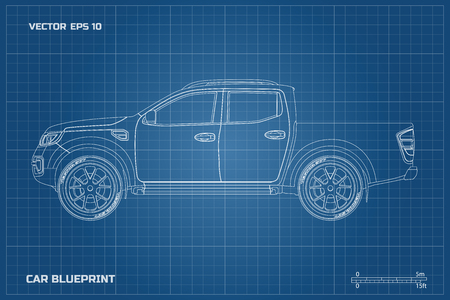 Drawing of the car on a blue background. Side view of pickup. Industrial blueprint of SUV.