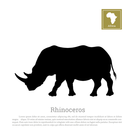 Black silhouette of a rhino on a white background. Big rhinoceros. African animals Иллюстрация