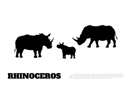 Black silhouette of a rhino family on a white background. Big rhinoceros. African animals