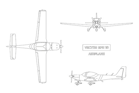 Outline drawing of airplane on white background