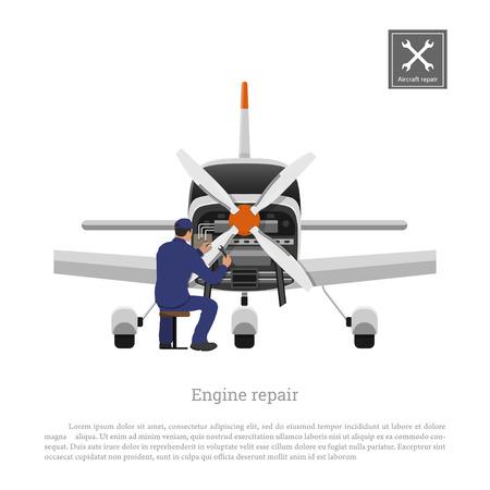 航空機の修理やメンテナンス  イラスト・ベクター素材
