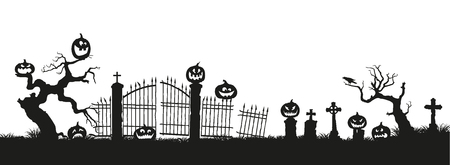 Holiday Halloween. Black silhouettes of pumpkins on the cemetery on white background. Graveyard and broken trees