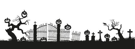 Vakantie Halloween. Zwarte silhouetten van pompoenen op de begraafplaats op witte achtergrond. Kerkhof en gebroken bomen