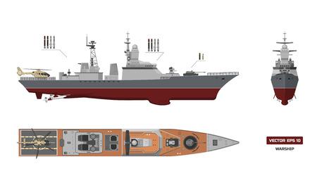 軍事船のイメージ。トップ、フロント、サイド ビュー  イラスト・ベクター素材