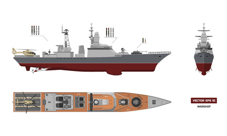 Image of military ship. Top, front and side view Illustration