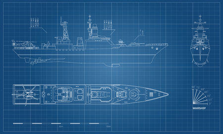 Blueprint of military ship. Top, front and side view. Battleship model. Industrial drawing. Warship in outline style. Vector illustration